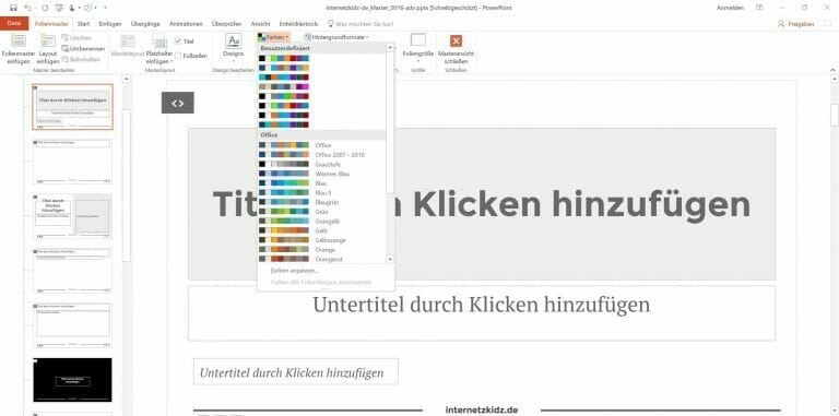 Powerpoint Slidermaster Color Palette