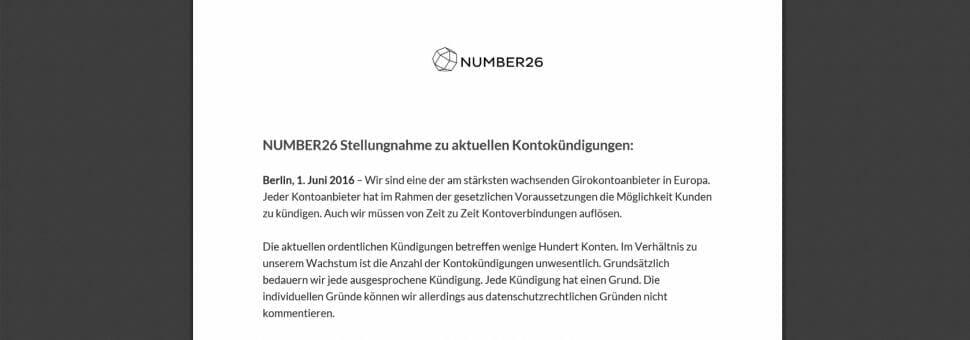 number26 Stellungnahme