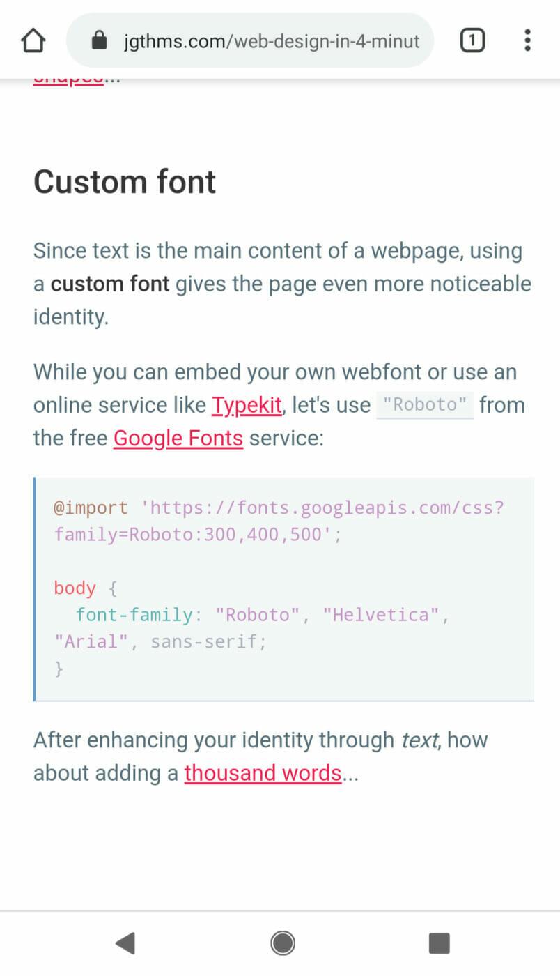 Custom Google Font