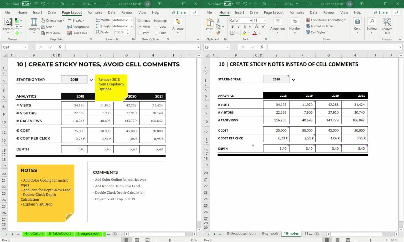 Notizen in Excel Design