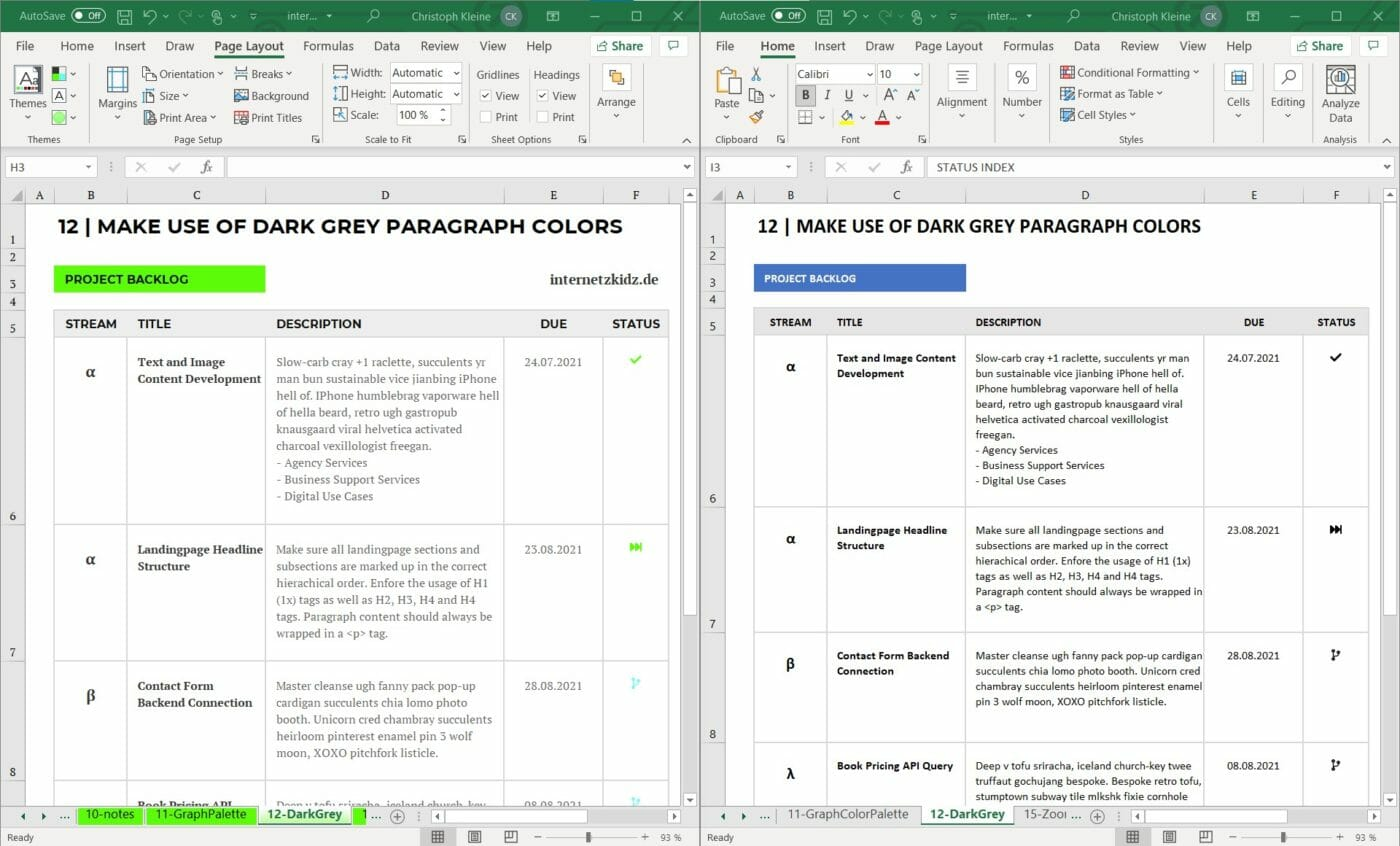 Dark Grey Absatz Design Excel Design