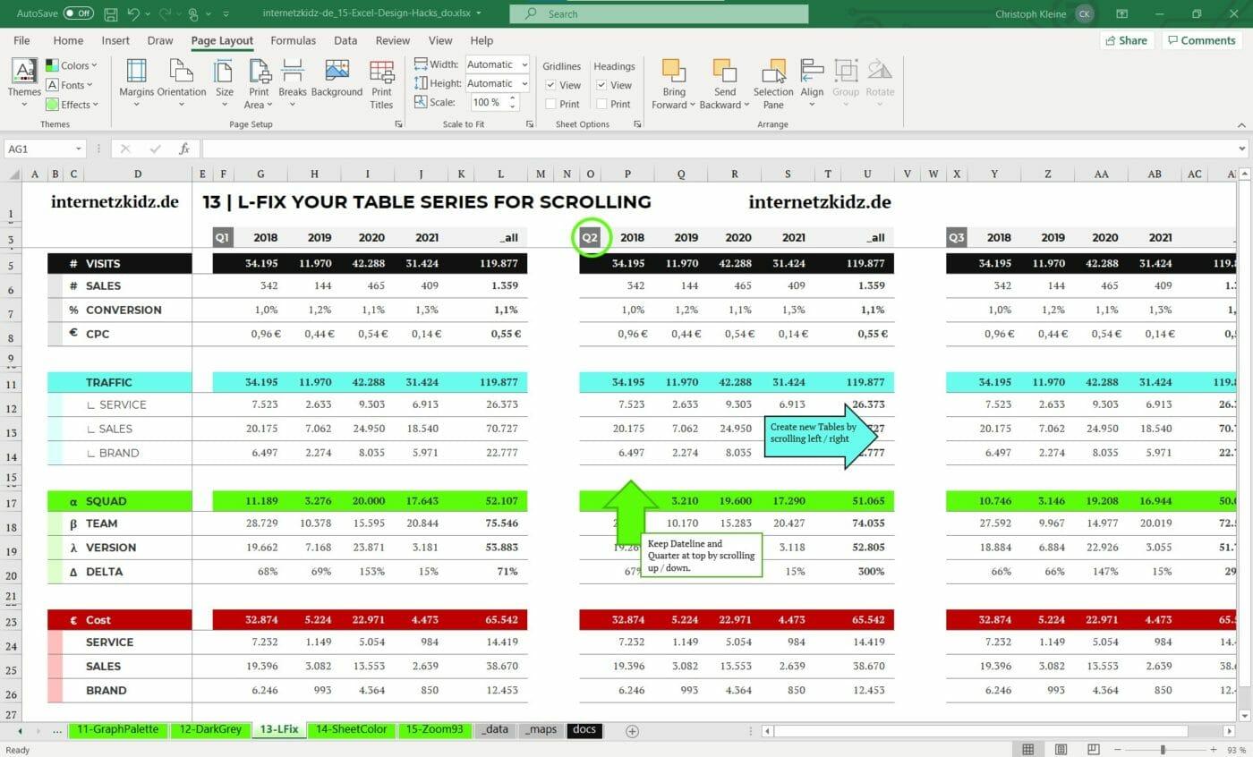 L-Fix Tabellen Excel Design