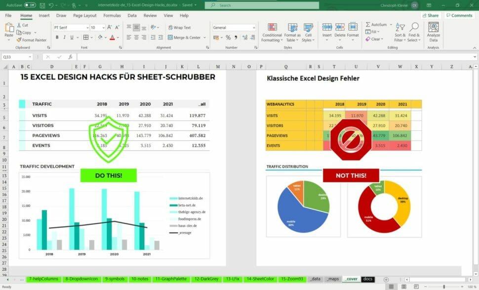 15 Excel Design-Hacks für Sheet-Schrubber