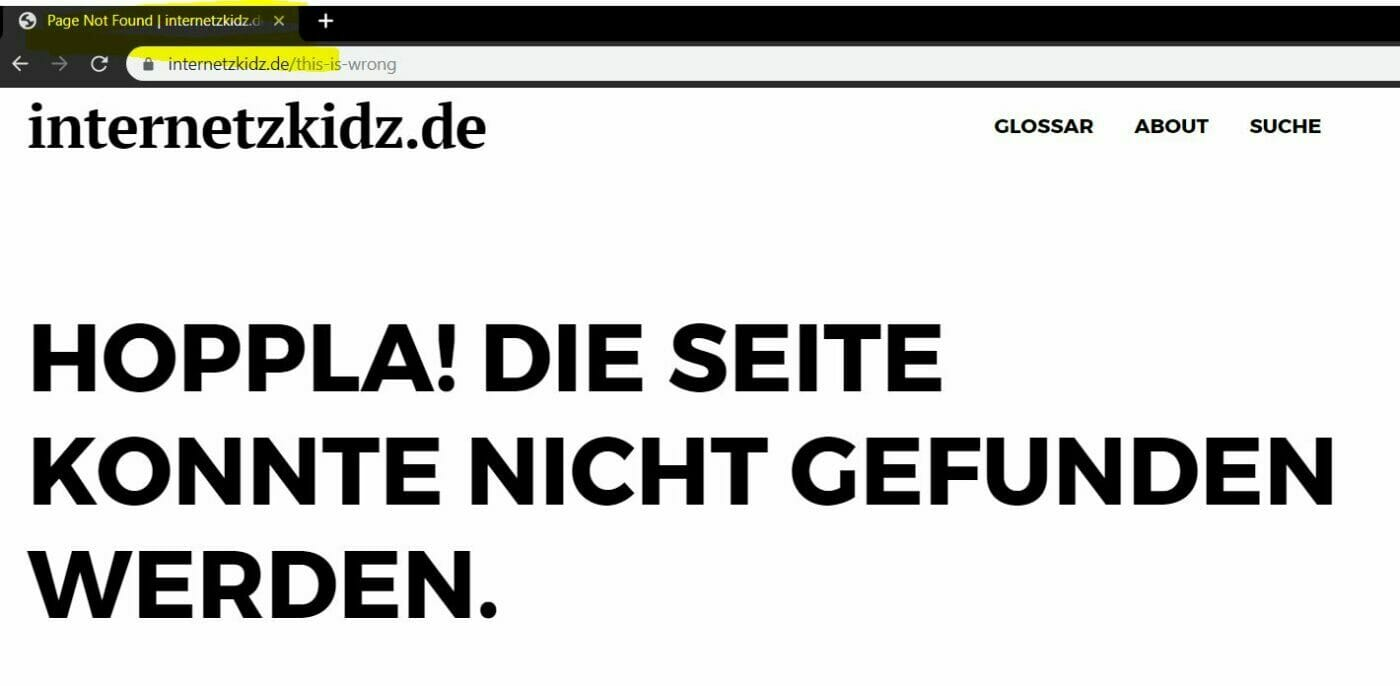 document Title einer 404 Seite in chrome