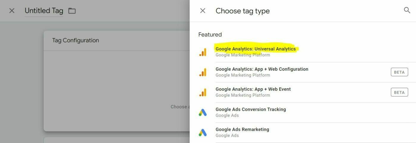 Google Analytics Tag Type Universal