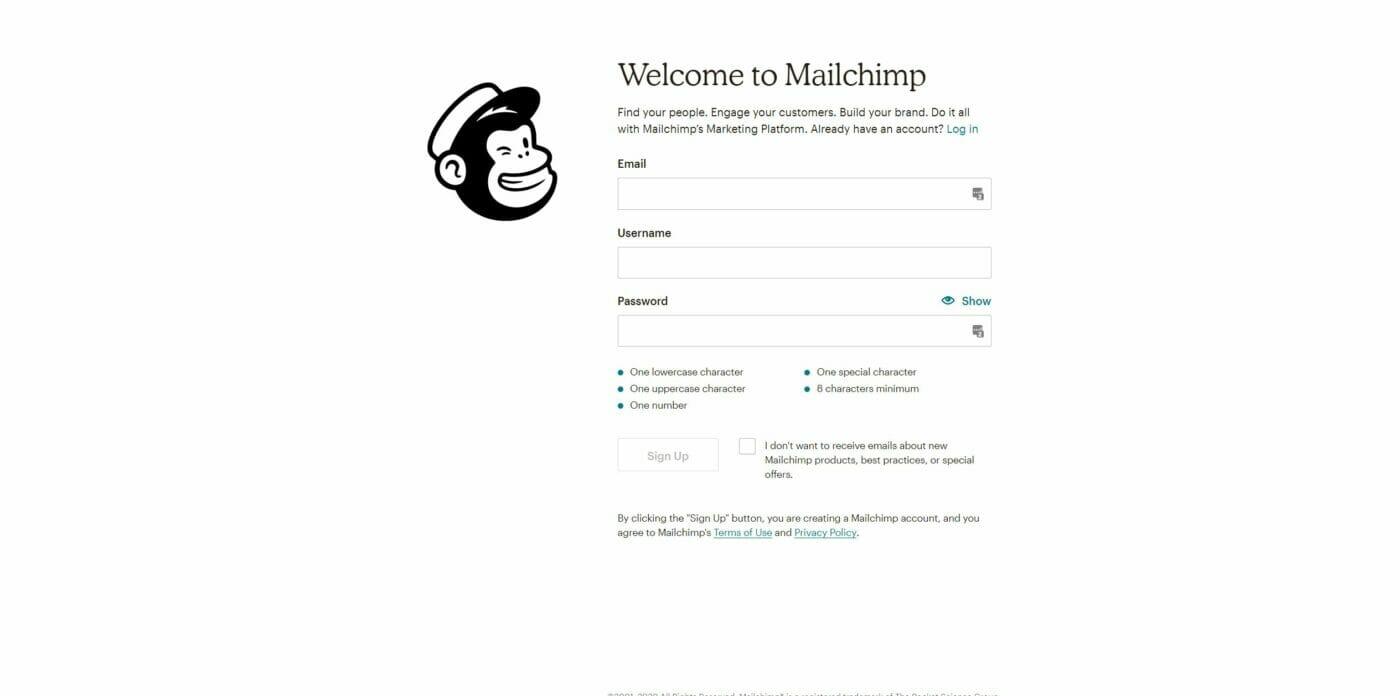 Mailchimp Registrierung