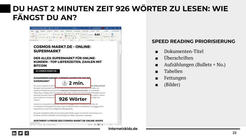 Lösung: 900 Wörter in 2 Minuten lesen