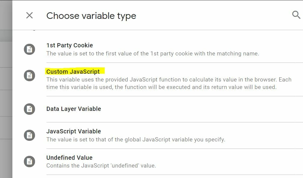 Tagmanager Variable Custom JS Code