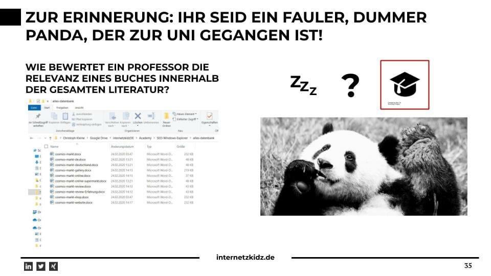 Bewertung der Relevanz thematisch ähnlicher Dokumente als Panda