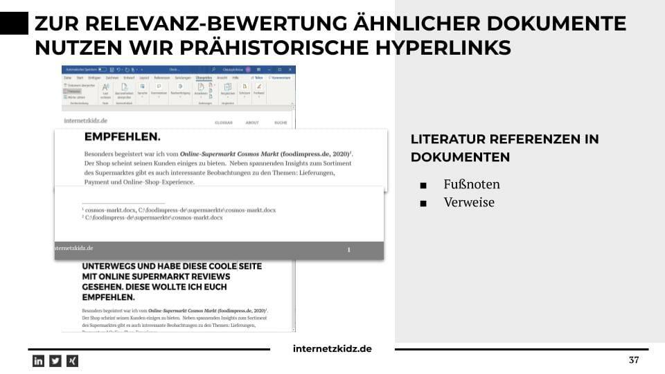 Wir nutzen Fussnoten und Literaturverweise zur Bewertung von relevanten Dokumenten