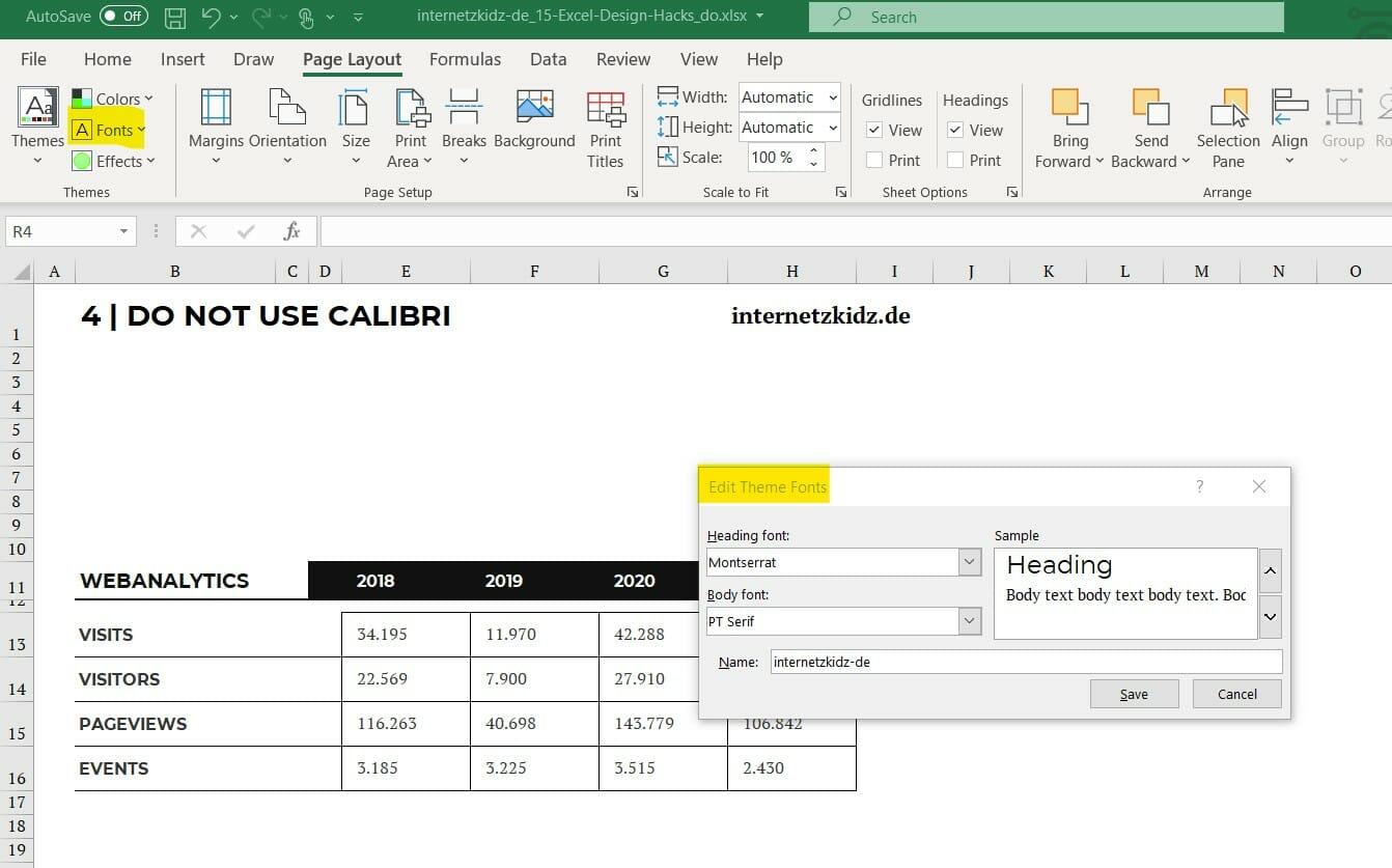 Excel Schriftarten Menü