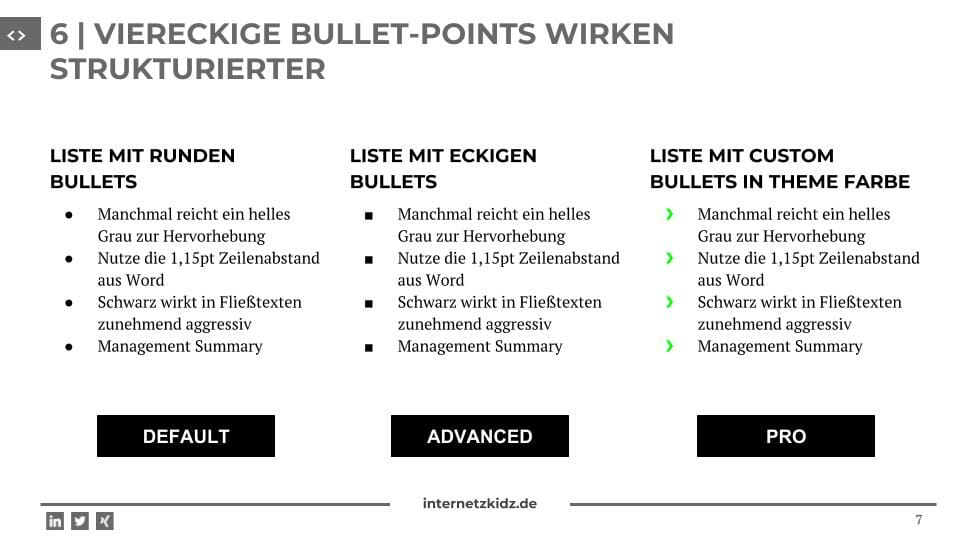 square bullets Powerpoint