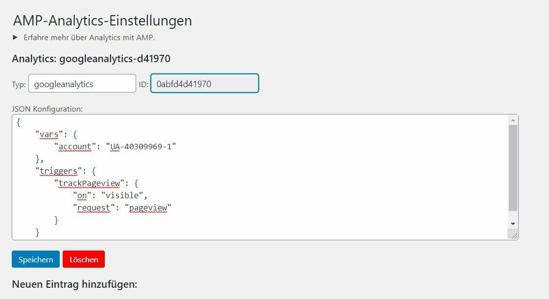 AMP Analytics Konfiguration WordPress Plugin