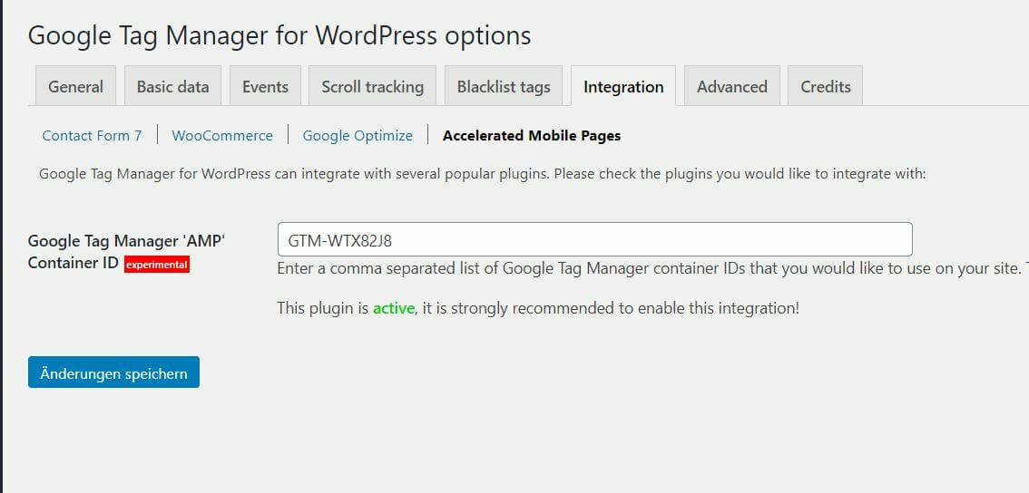 AMP Container WordPress Integration.