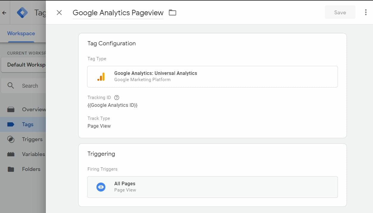 AMP Google Analytics config