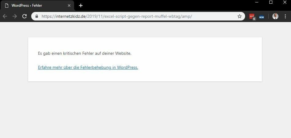 Es gab einen kritischen Fehler auf deiner Website. Erfahre mehr über die Fehlerbehebung in WordPress.