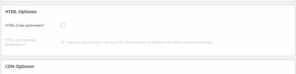 Autoptimize HTML optimieren AUS