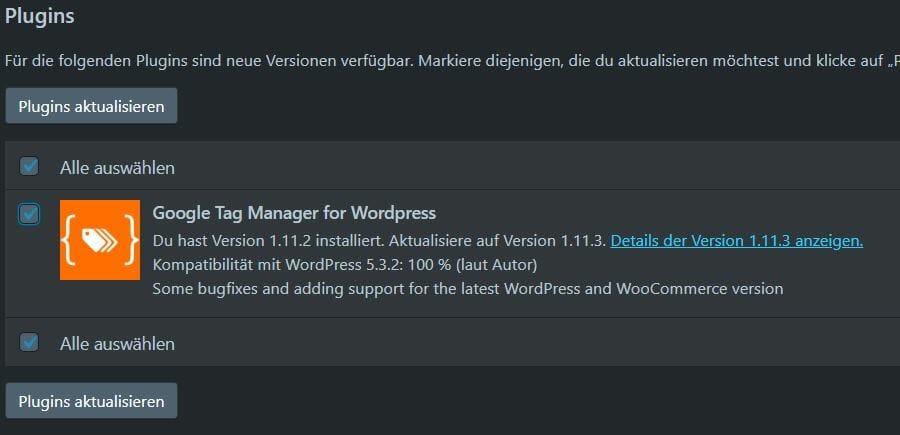 Ungecheckte Checkbox WordPress Darkmode
