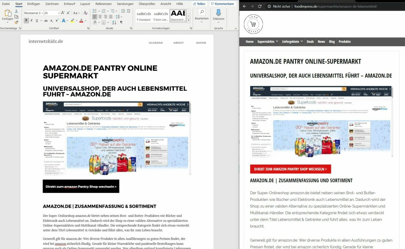 Splitscreen Dokument und Website