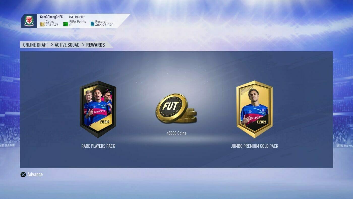 FUT Draft Coin Reward FIFA19
