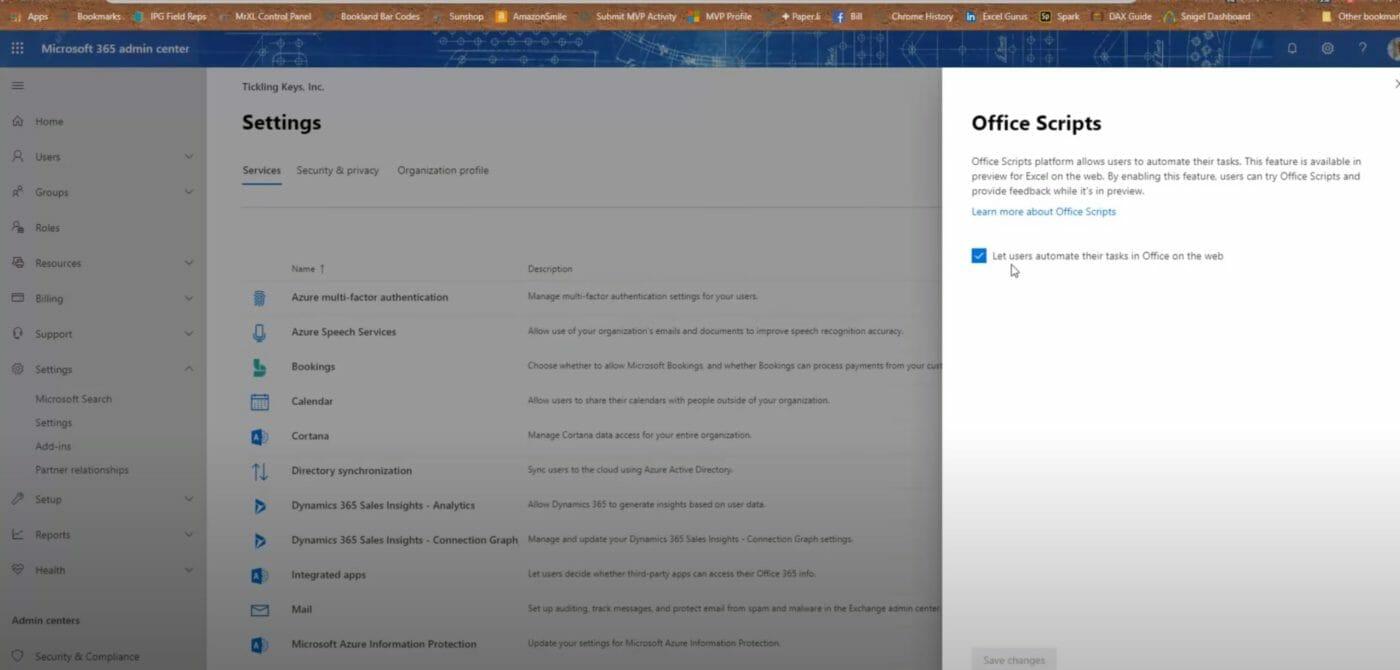 Enable Office Scripts Microsoft 365 Admin Center