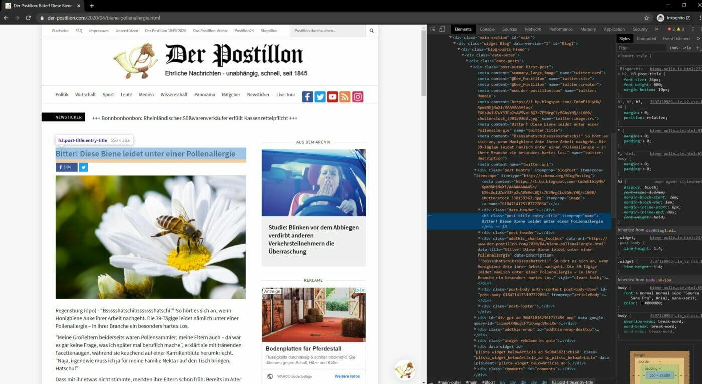 Postillion HTML bearbeiten