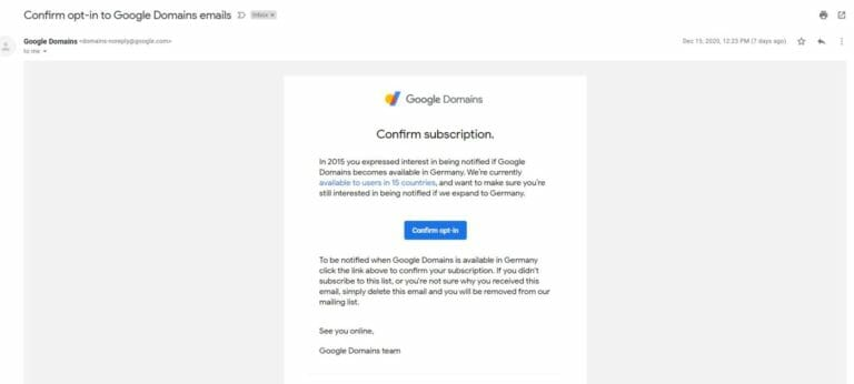Google Domains Notification