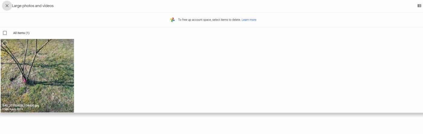 Google One Speichermanagement Interface
