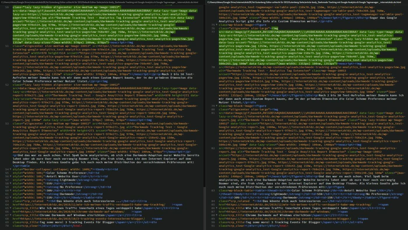 Wordpress Default Editor vs. Gutenberg Editor Code LIne Comparison