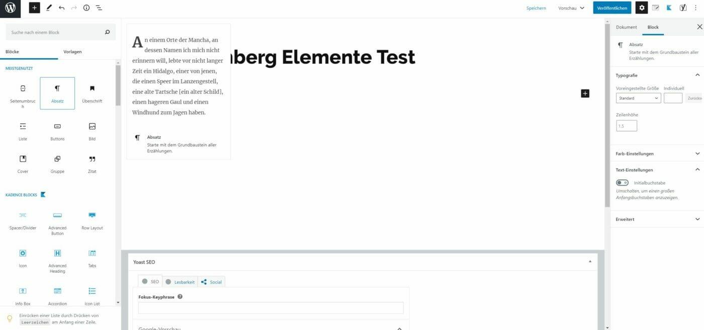 Gutenberg Editor Absatz einfügen
