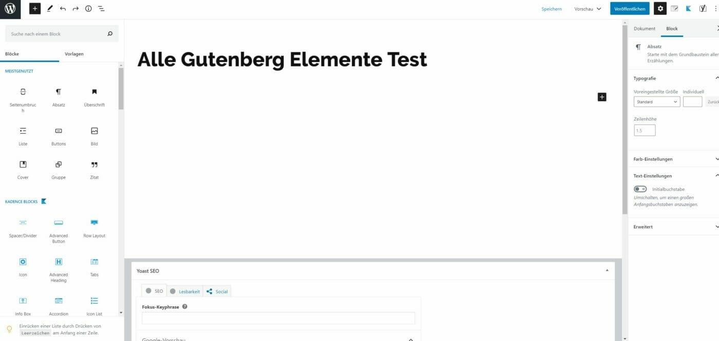 Gutenberg Editor zweite Zeile