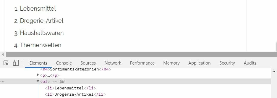 HTML Markup Aufzählung