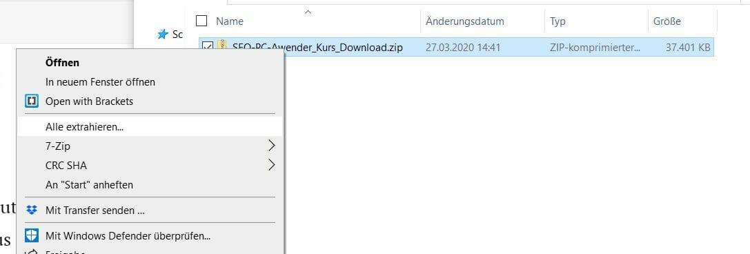 Alle extrahieren Windows Kontextmenü