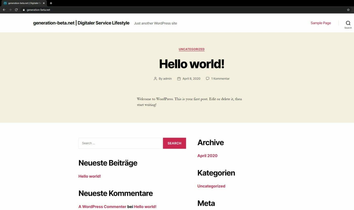Wordpress Installation abgeschlossen