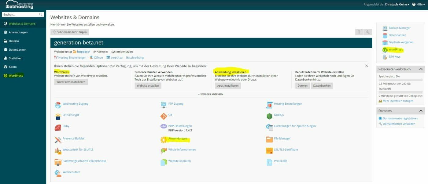 Domain-Übersicht WordPress Installation