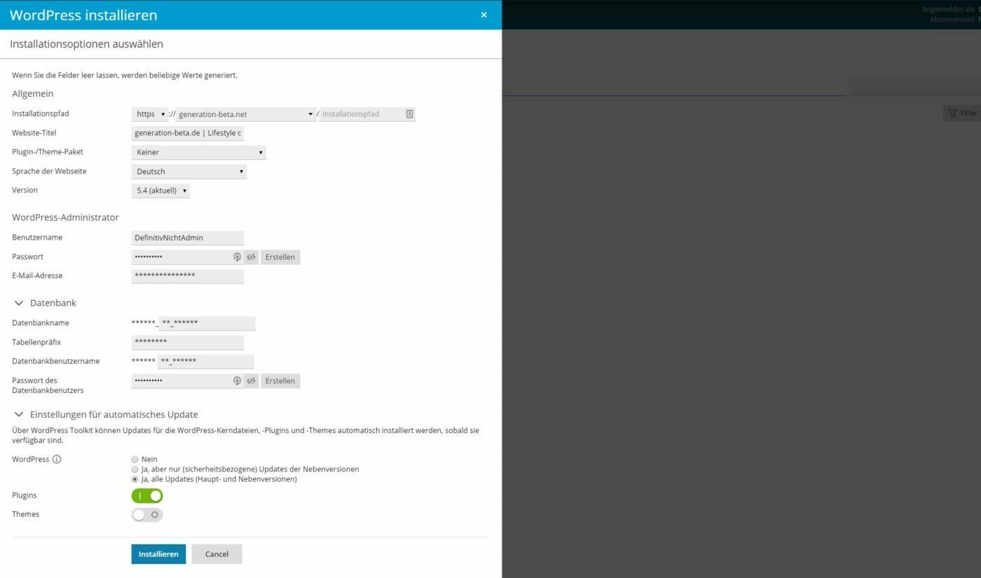 Konfiguration WordPress Installation netcup Webhosting
