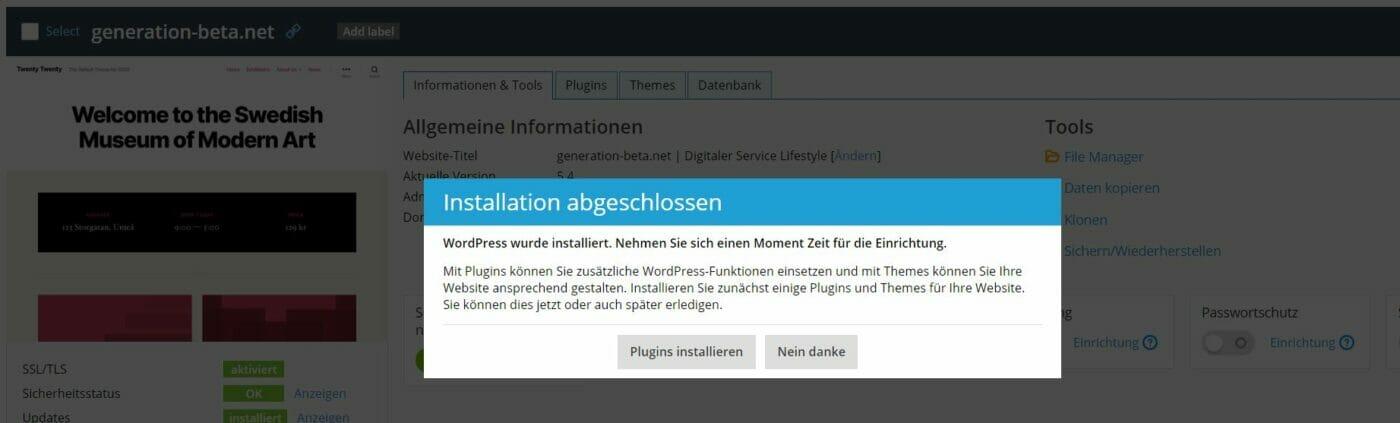 Wordpress Installation fast fertig netcup