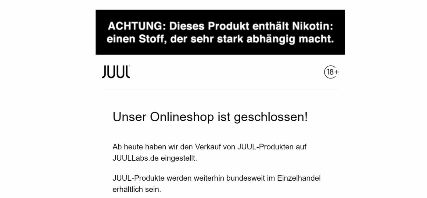 JUUL Onlineshop geschlossen