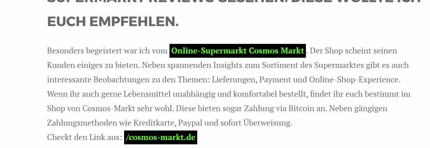 Hyperlink Empfehlung cosmos Markt von internetzkidz