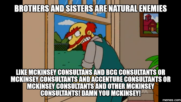 Brothers and sisters are natural enemies like McKonsey Consultants and BCG Consultants