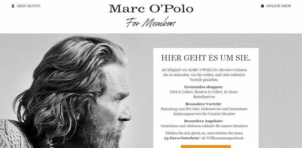 Loyalty Programm: Marc O'Polo for members.