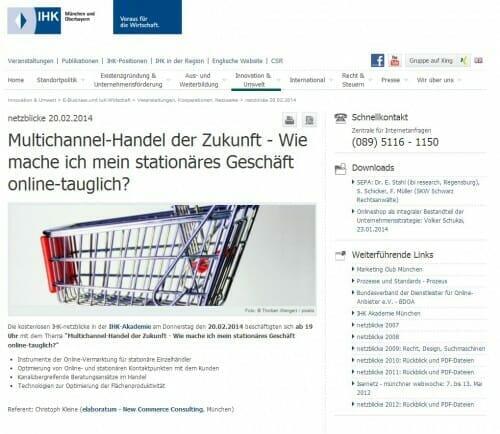 Multichannel Handel der Zukunft - Christoph Kleine bei den IHK Netzblicken