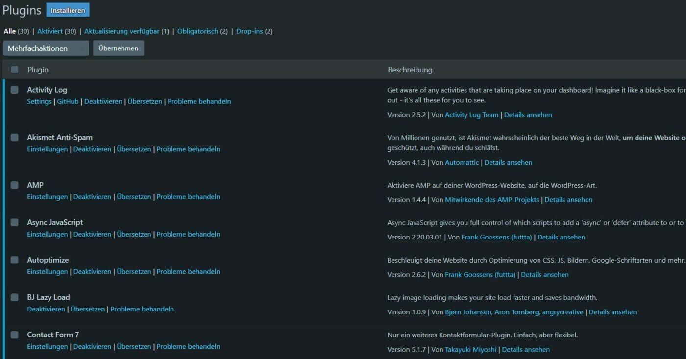 Darkmode Plugins Uebersicht WordPress