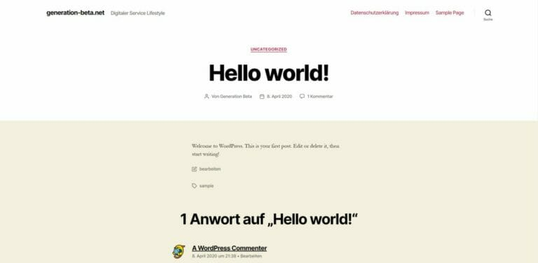 Hello World Wordpress Beitrag