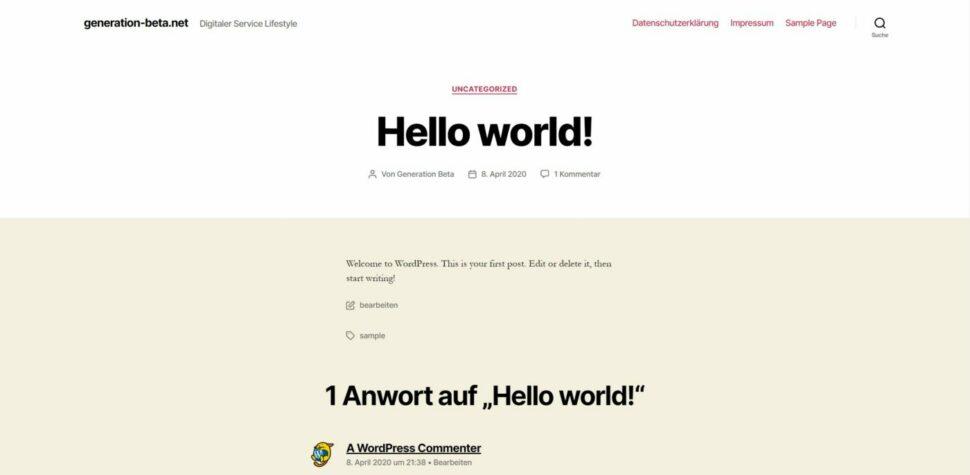 Hello World Wordpress Beitrag