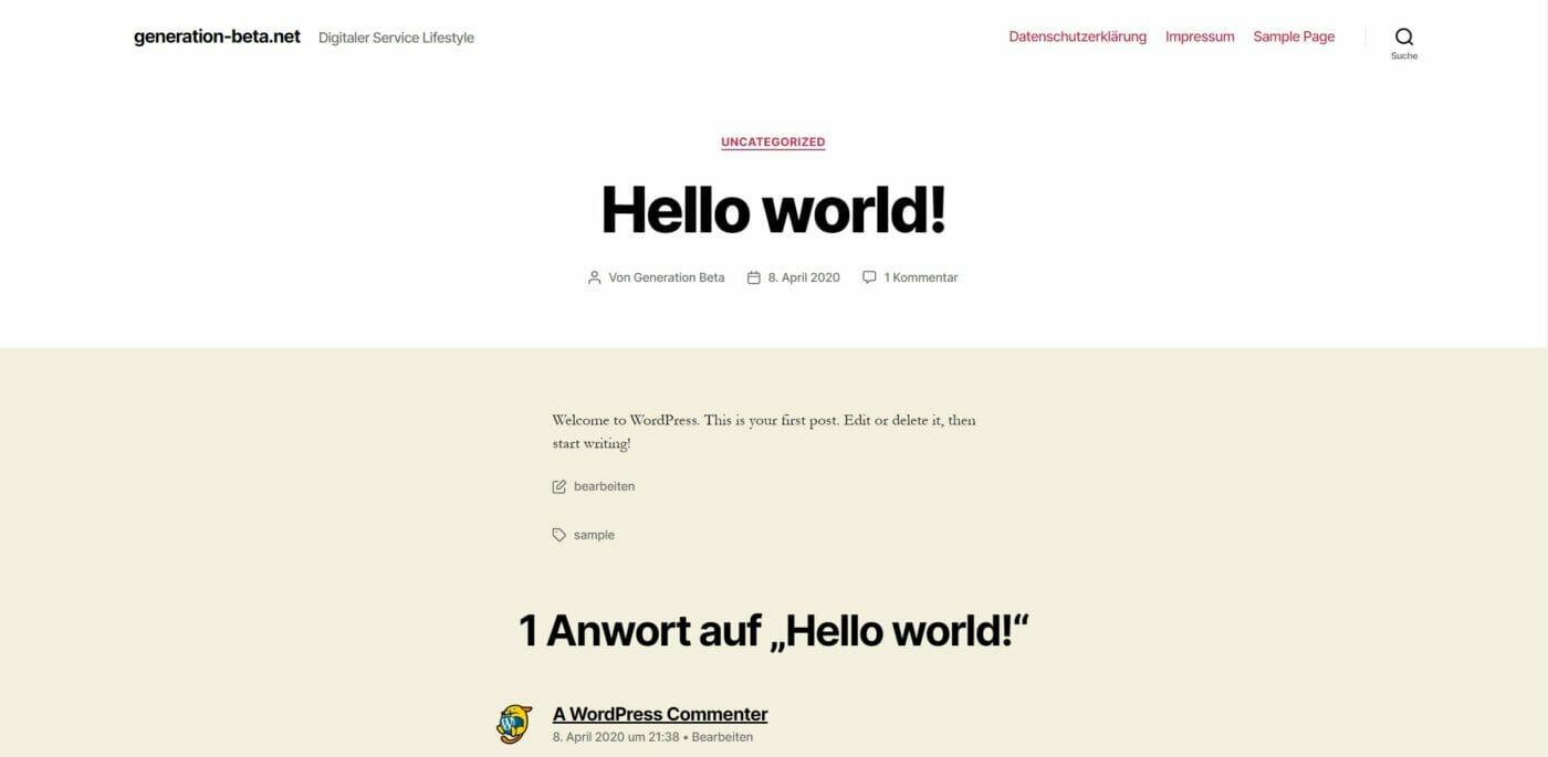 Hello World Blogpost auf WordPress Seite