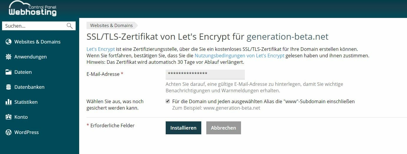 Lets Encrypt Bestellung netcup