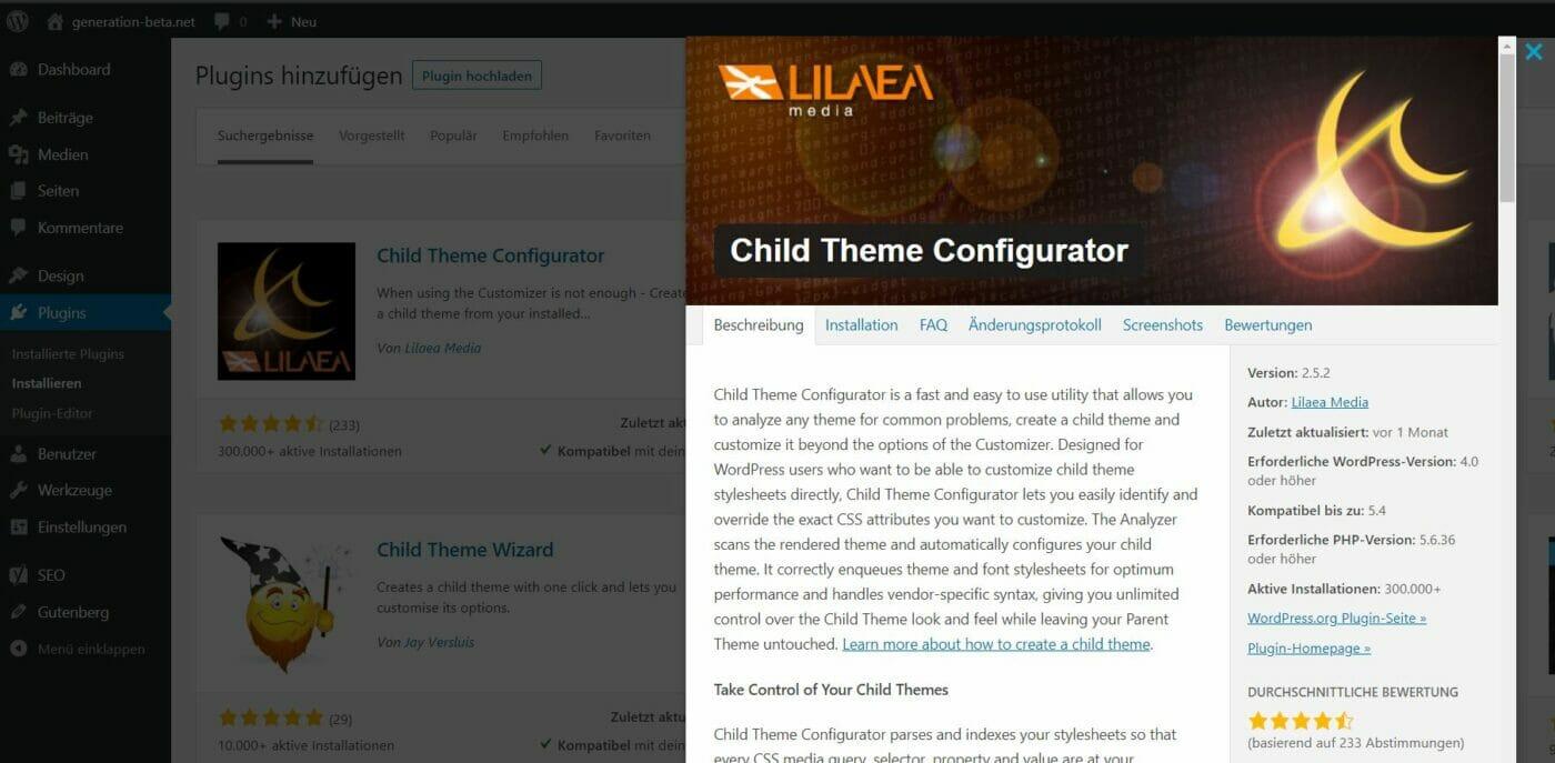 Child Theme Configurator Plugin