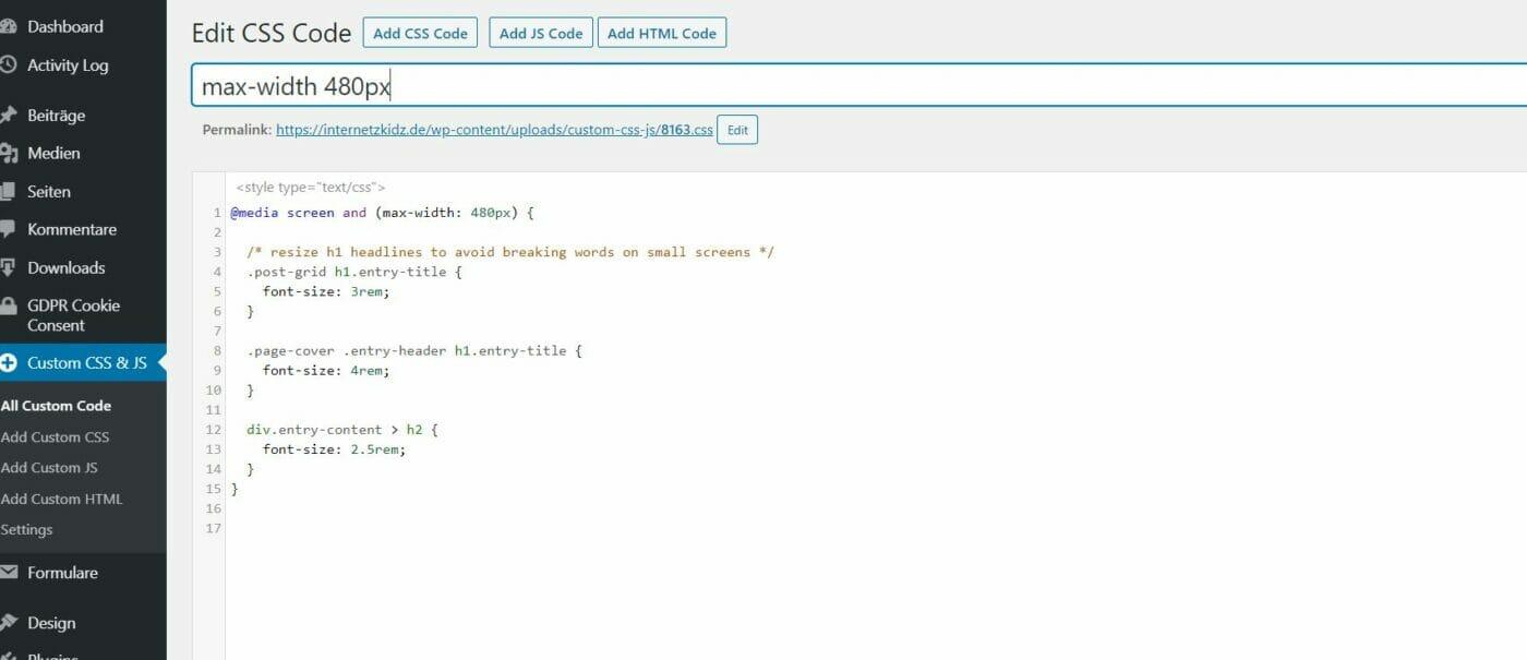 Custom CSS JS Plugin