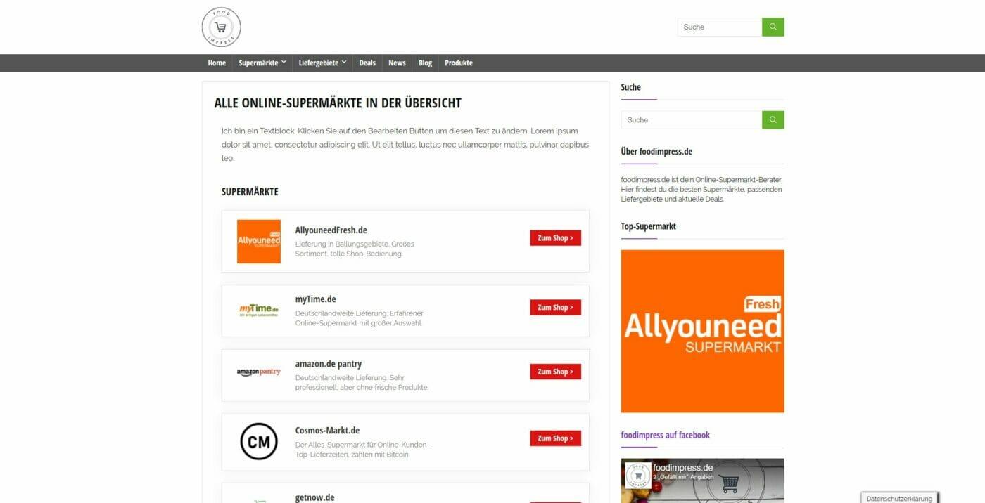 foodimpress Kategorie-Seite